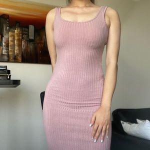 REVAMPED Dusty Pink Tank Bodycon Midi Dress